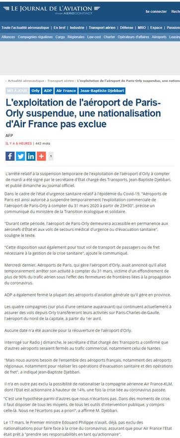 29/03/20 Journal de l'aviation