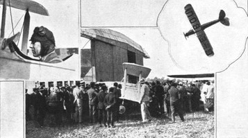 One of the memories of the Orly meeting for the French and Germans (to judge from their impressions) will be of the stunting display of Flying-Officer Atcherley on the Genet-Moth, the first of that type ever constructed. (Inset left) Flying-Officer Atcherley, and (inset right) shows the machine in a slow roll, whilst in the centre is evidence of the reception he got after the display. © Flight