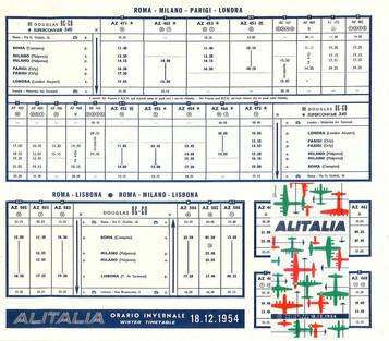 Alitalia - à partir du 8 décembre 1954