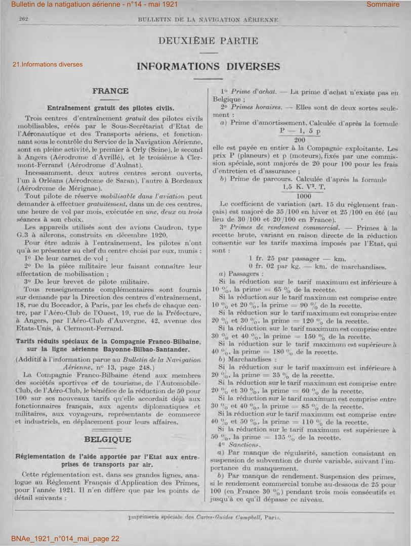 Bulletin de la Navigation Aérienne - Mai 1921