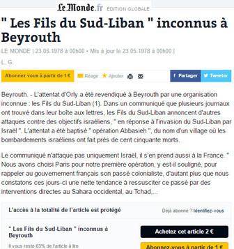 """LE MONDE.FR du 23/05/78 """"'Les Fils du sud-Liban' inconnus à Beyrouth"""""""