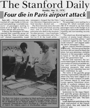 """THE STANFORD DAILY du 22/05/78 """"Four die in Paris airport attack"""""""