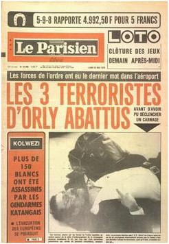 """LE PARISIEN LIBERE numéro 10469 du 22/05/78 """"Les 3 terroristes d'Orly abattus"""""""