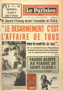 """LE PARISIEN LIBERE numéro 10473 du 26/05/78 """"L'attentat d'Orly - Une 2ème CRS est mort"""""""