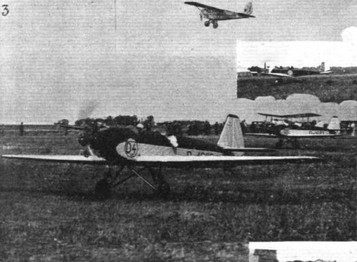 PETROL TEST AT THE ORLY MEETING: (3) Two of the Junkers A.50's fitted with Genet engines, and Capt. Broad's Gipsy-Moth.