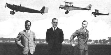 """SUCCESSFUL COMPETITORS IN THE 1928 ORLY MEETING: Herr R. Lusser (left) won with 1,691 points on the Klemm (Salmson) machine shown above him. Capt. E. W. Percival (centre) was second with 1,606 points on the Avro """"Avian"""" (Cirrus Mk. III) (above); and Capt. H. Broad (right) third with 1,581 points on the Gipsy-Moth (above).  © Flight"""