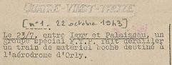 1943 - 22 octobre - Quatre Vingt Treize.