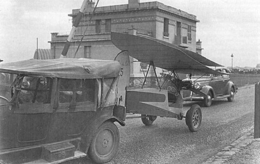 Rene Coupez's H.M.14, No 15, being towed to the Orly Flea meeting in October 1935. Built by Coupez jointly with Victor Lane, this Flea was powered by a 25 h.p. Poinsard engine.