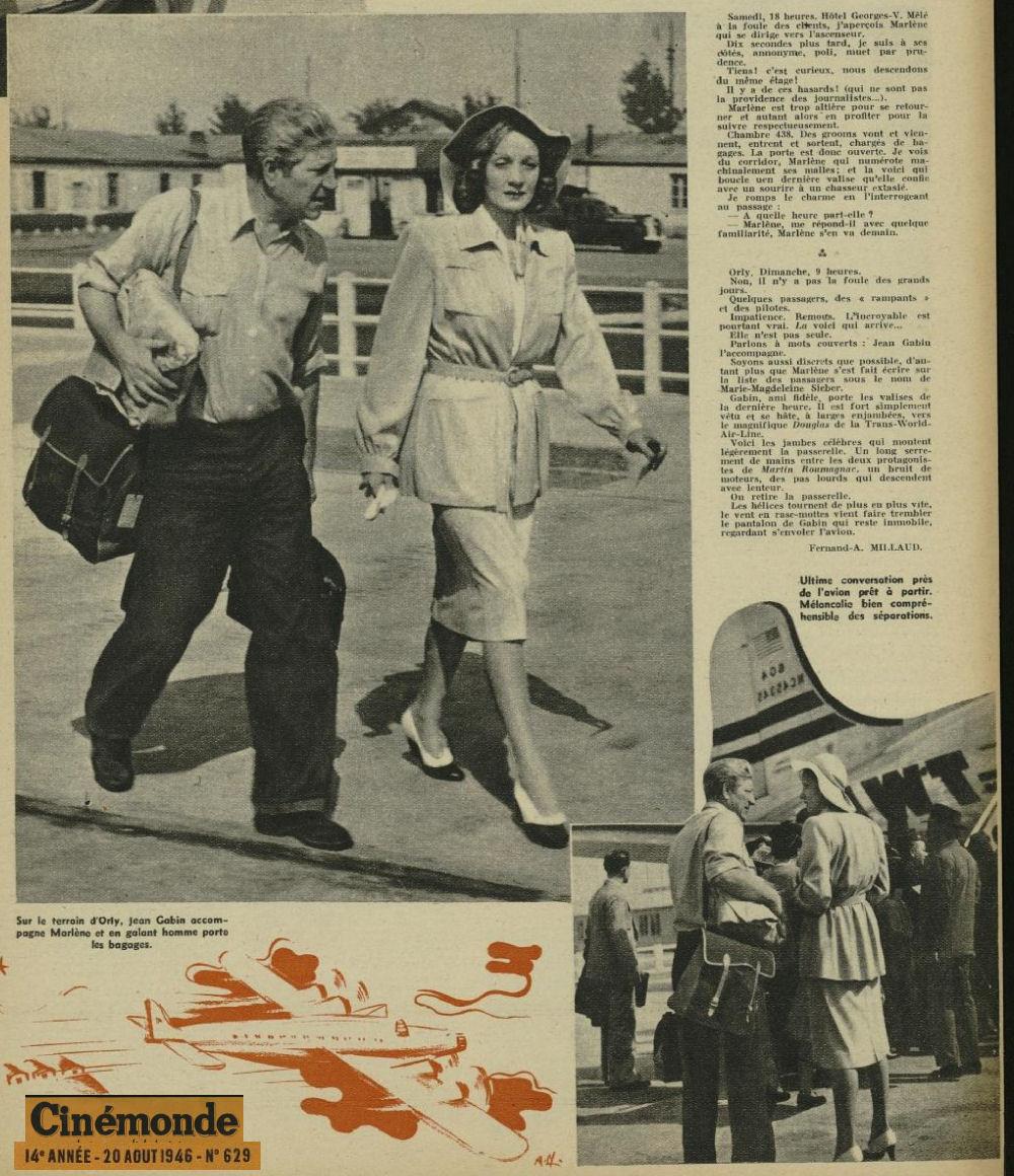 1946 - 20 aout - Marlene et Jean Gabin