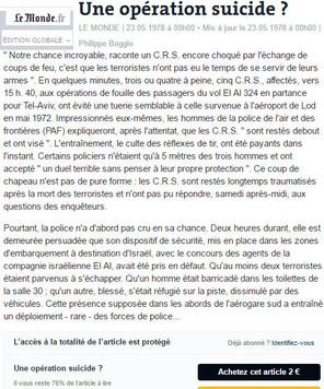"""LE MONDE.FR du 23/05/78 """"Une opération suicide?"""""""