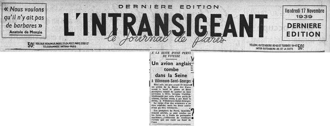 © L'intransigeant du 17/11/39