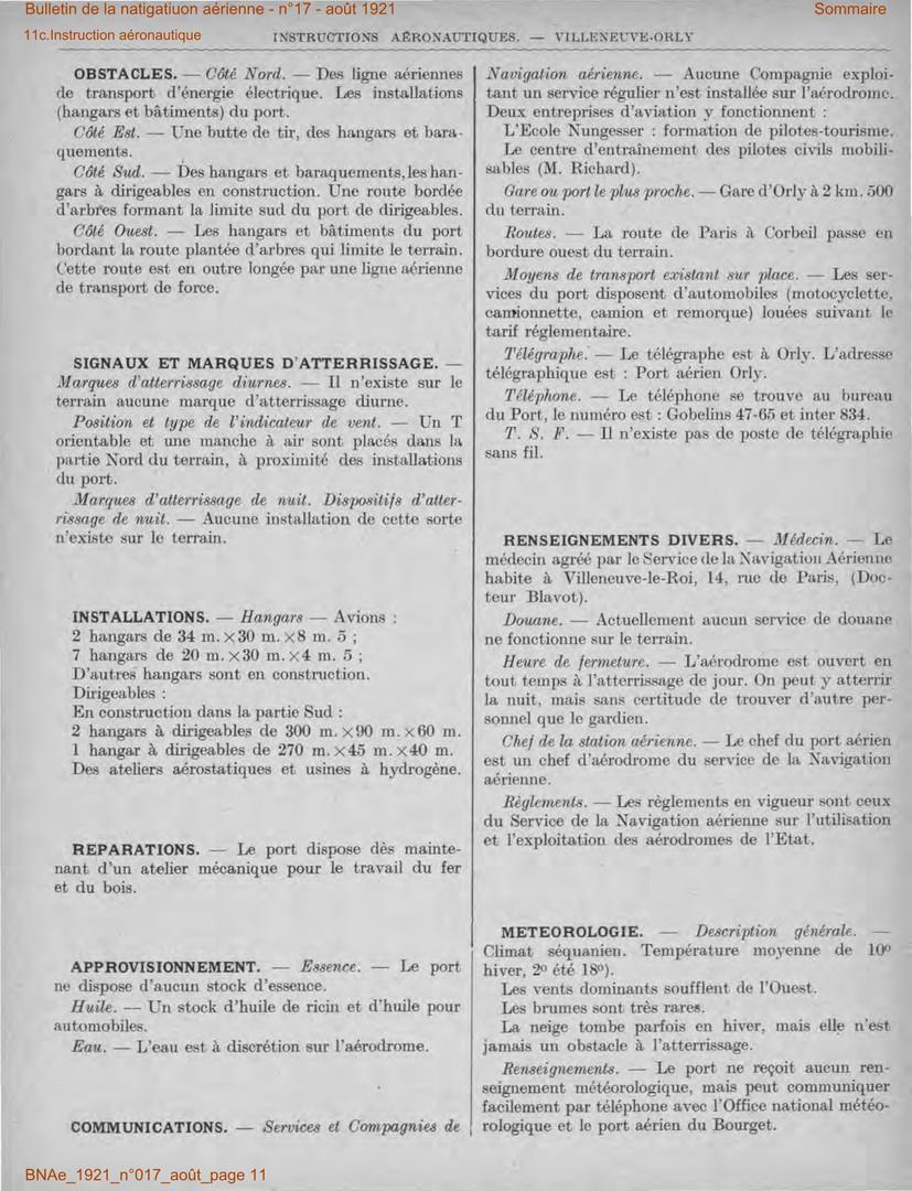 Bulletin de la Navigation Aérienne - Février 1921