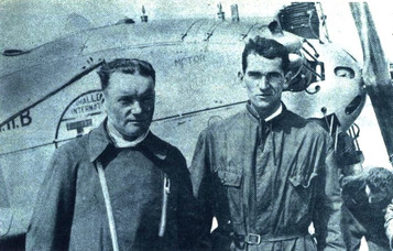 "Letec magazine, volume V, issue 9, page 483, September1929 Aviator Senior Captain František Klepš and aircraft technician Bartl in front of the aircraft Avia BH-11. Contest ""Challenge International de Tourisme 1929""."