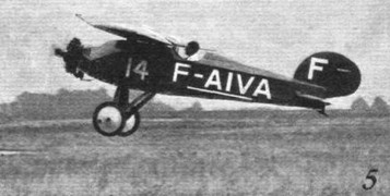 TAKING OFF AT ORLY: (5) The neat little Albert (Salmson) monoplane flown jointly by M. Magnard and M. Fisbach. © Flight
