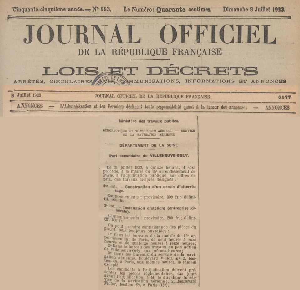 08/07/23 Journal Officiel : Cercle d'atterrissage