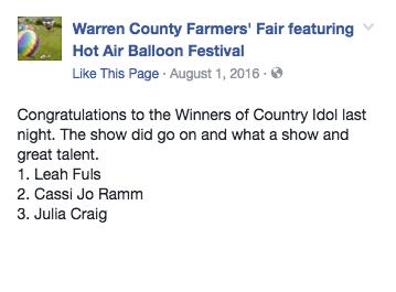 Country Idol Winners Warren County Farmers Fair New Jersey