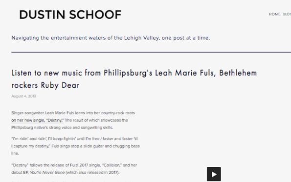 Dustin Schoof Article on Destiny by Leah