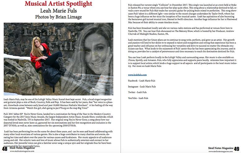 Musical Artist Spotlight Steel Notes Magazine.png
