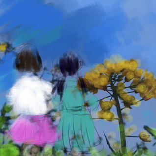 Hometown, you, childhood, and rape flower field