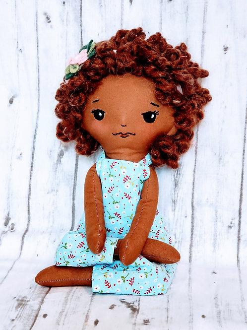 "16""Heirloom Doll Dark Skin Short Curly Hair"
