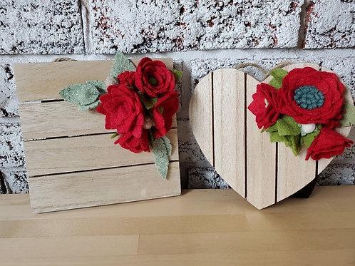 Wooden felt floral plaques