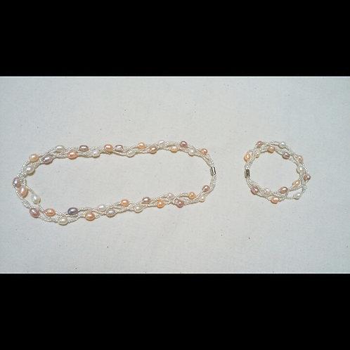 淡水パール ピンク系 ネックレス&ブレスレット