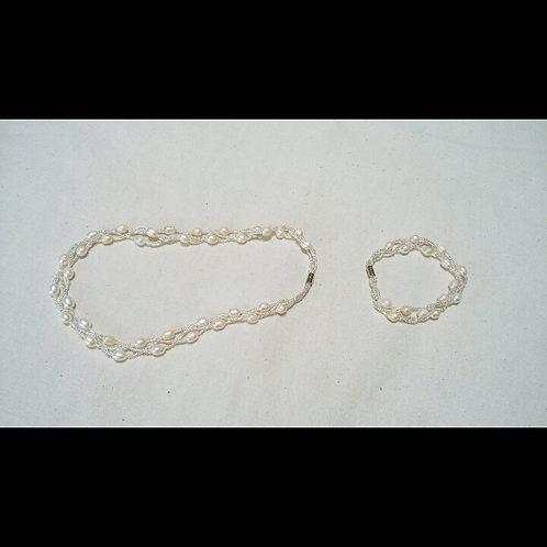 淡水パール ホワイト ネックレス&ブレスレット