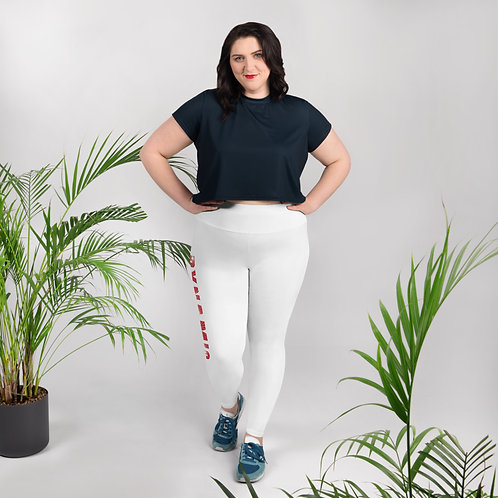 Dynamic Drumming All-Over Print Plus Size Leggings White
