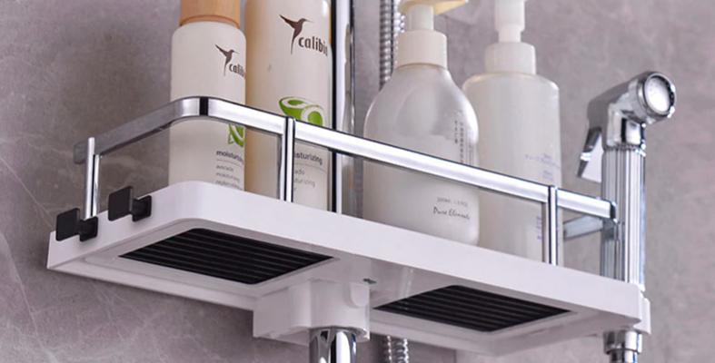 מדף ארגון ואחסון למוט המקלחת ללא קדיחת חורים