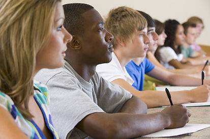College students listening to a universi