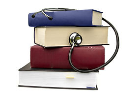 studying medicine or research book with
