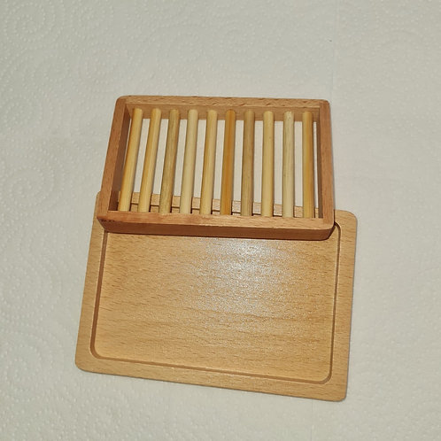 Two-tier Simple wooden Bamboo soap dish