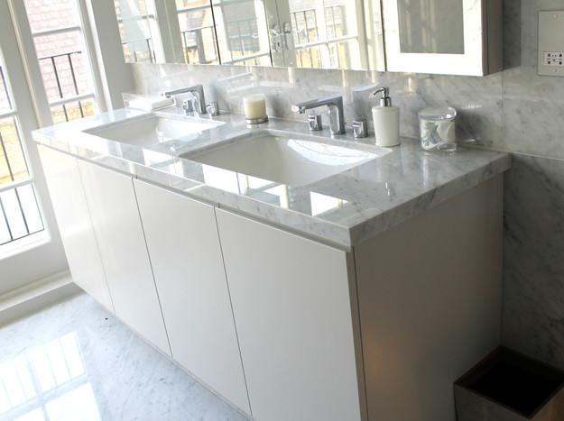 Contemporary double vanity unit with marble top