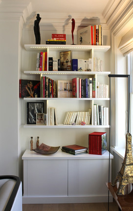Low cabinet with floating shelves