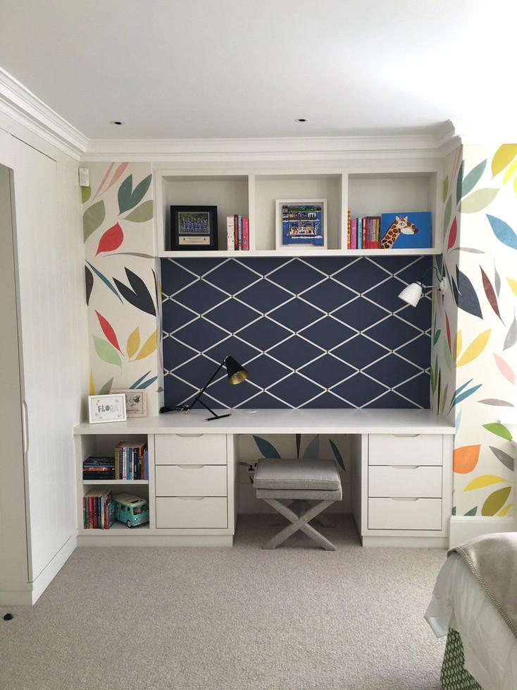 Desk with pin board, drawers and shelves above Interior designer - Turner Pocock