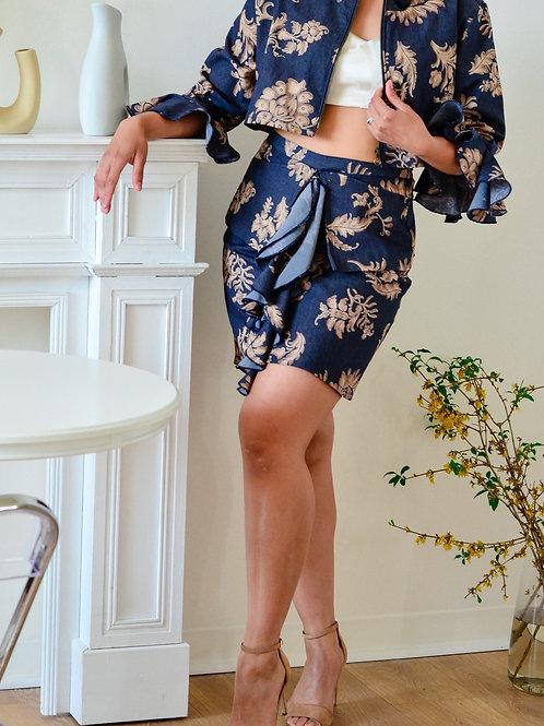 Luxe  Leaf Print Denim Skirt