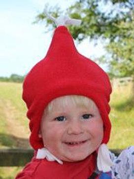 red fleece beany hat