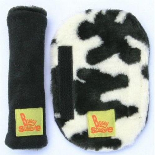 cow fur & black strap covers