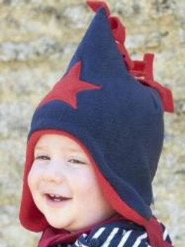 navy/red star fleece hat