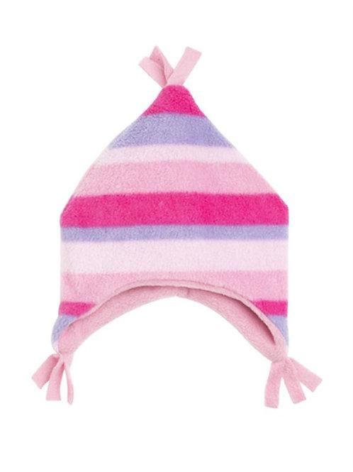pink stripe fleece beany hat
