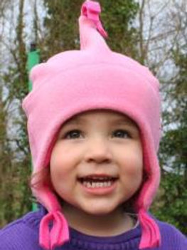 candy/cerise fleece beany hat