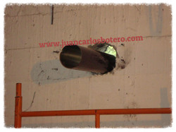Perforación Pasante en muro vaciado.