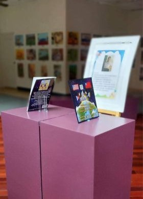 Wen-Fu Elementary displays our book at Yixiang Pavilion's feature of Taiwan's 51st Annual World Schoolchildren's Art Exhibition!