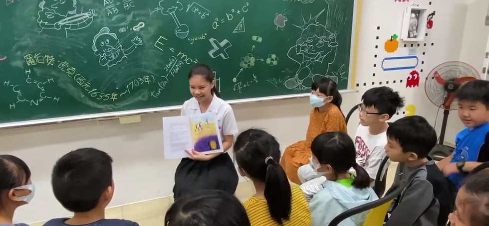 Amber presents our book to local students!