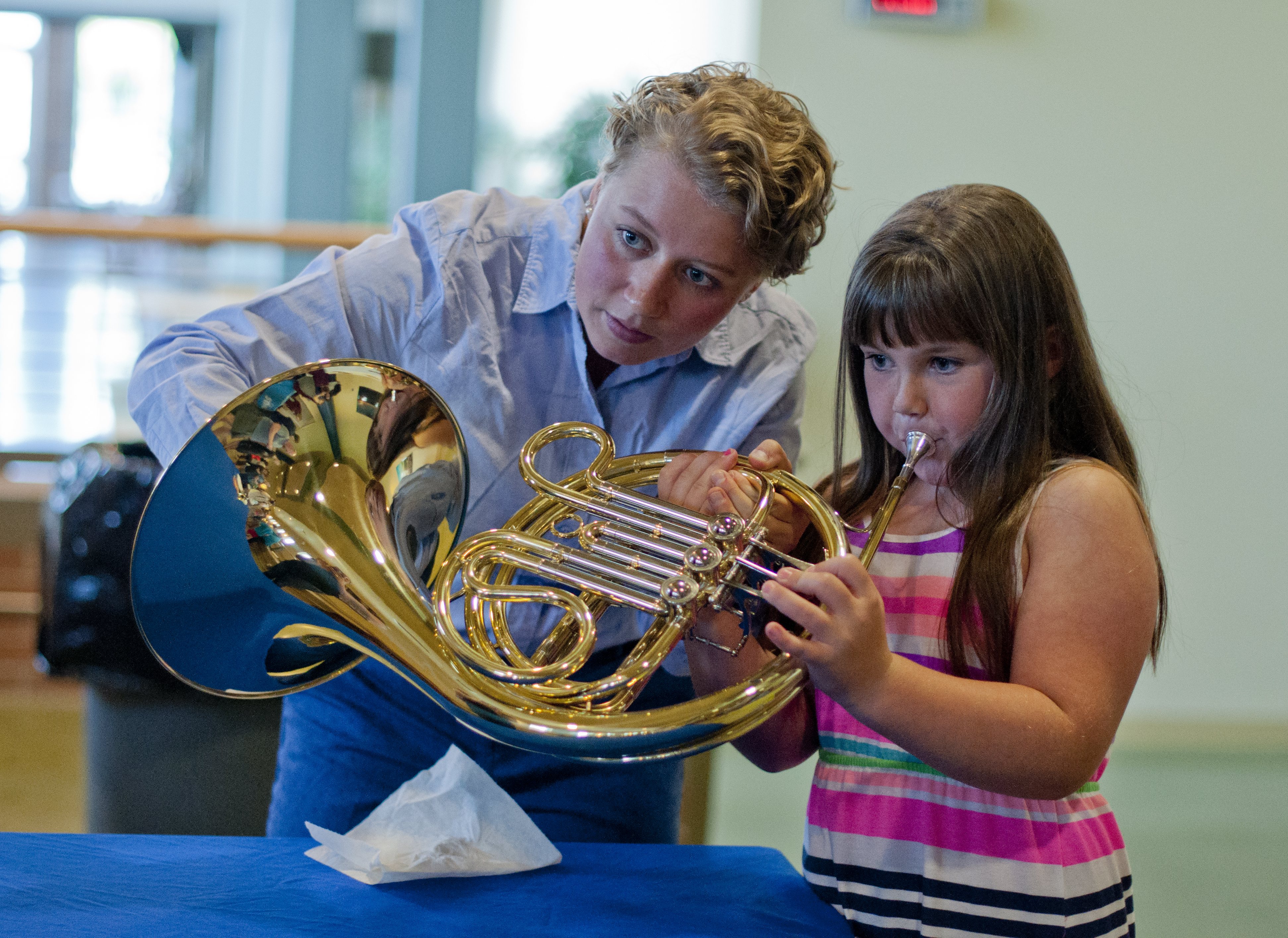 Madeleine sharing the french horn