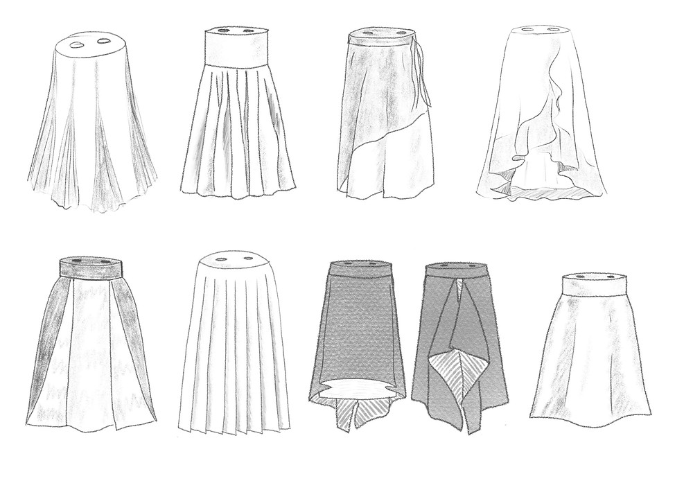 several monochrome sketches of potential Torah mantle designs, based on modern clothing styles