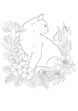 Cat in the Garden colouring page