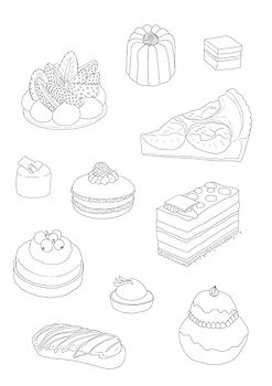 patisserie colouring page