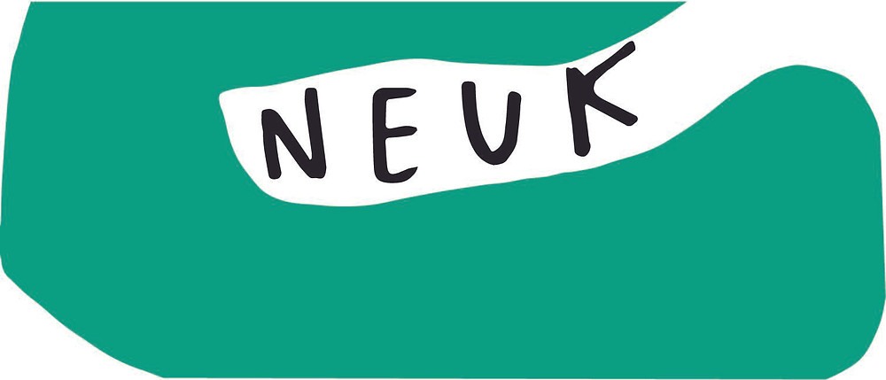 Image shows the word Neuk surrounded by a jade green abstract blob shape