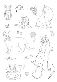 cats and toys colouring page